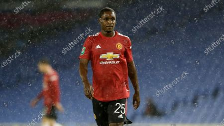 """Manchester United's Odion Ighalo during their English League Cup soccer match against Brighton at Falmer Stadium in Brighton, England. Heavyweight boxing champion Anthony Joshua voiced support for Nigerian protesters and Manchester United striker Odion Ighalo said he's """"ashamed"""" of his country's government after reports that anti-police demonstrators were fired upon in Lagos. The shootings on Tuesday, Oct. 30 caused an unknown number of deaths and injuries, and sparked global outrage"""