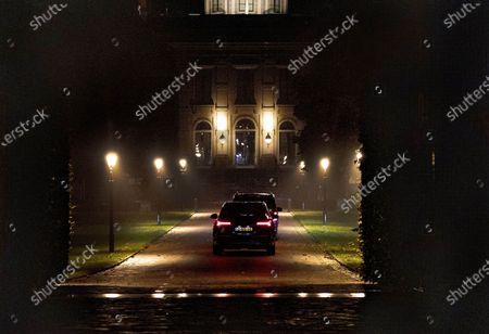 Stock Image of King Willem-Alexander, Queen Maxima, Princess Amalia, Princess Alexia and Princess Ariane arrive at palace Huis ten Bosch after their holiday in Greece