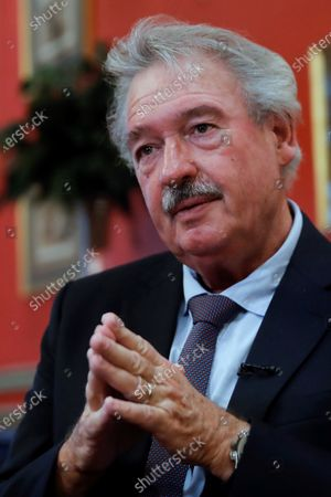 Luxembourg's Foreign Affairs Minister, Jean Asselborn, speaks during an interview with Spanish international news Agency Efe after a meeting with his Spanish counterpart, Arancha Gonzalez Laya, at Viana Palace in Madrid, Spain, 21 October 2020.
