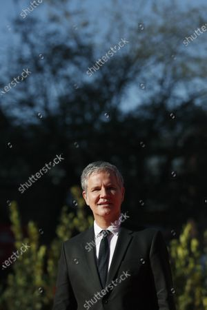 """Clergy sex abuse survivor and victims' advocate Juan Carlos Cruz poses during the red carpet for the movie """"Francesco"""" at the Rome Film Festival, in Rome"""