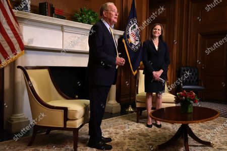 US Sen. Lamar Alexander (R-TN) meets with US Supreme Court nominee Judge Amy Coney Barrett at the US Capitol, in Washington, DC, USA, 21 October 2020.