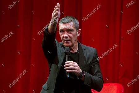 Antonio Banderas attends a press conference to present the musical production 'Company' at the Teatro del Soho theater in Malaga, Andalusia, Spain, 21 October 2020. Banderas will direct and will star in the Stephen Sondheim musical, which will open the 2020-2021 Teatro del Soho theater season.