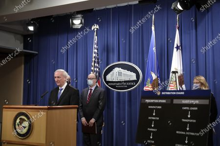 Deputy US Attorney General Jeffrey Rosen holds a news conference to announce the results of the global resolution of criminal and civil investigations with an opioid manufacturer at the Justice Department in Washington, DC, USA, 21 October 2020.