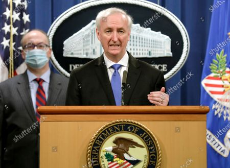 US Deputy Attorney General Jeffrey Rosen holds a news conference to announce the results of the global resolution of criminal and civil investigations with an opioid manufacturer at the Justice Department in Washington, DC, USA, 21 October 2020.