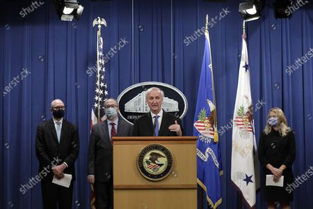 Deputy US Attorney General Jeffrey Rosen announces that Purdue Pharma LP has agreed to plead guilty to criminal charges over the handling of its addictive prescription opioid OxyContin during a news conference at the Justice Department in Washington, DC, USA, 21 October 2020.
