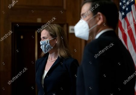 Stock Image of United States Supreme Court nominee Judge Amy Coney Barrett (L) meets with US Senator Marco Rubio (Republican of Florida) at the U.S. Capitol in Washington, DC. President Donald Trump nominated Barrett to replace Justice Ruth Bader Ginsburg after her death.