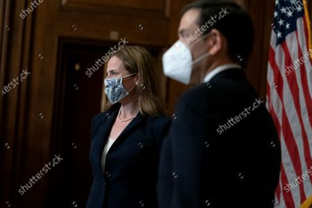 Stock Picture of United States Supreme Court nominee Judge Amy Coney Barrett (L) meets with US Senator Marco Rubio (Republican of Florida) at the U.S. Capitol in Washington, DC. President Donald Trump nominated Barrett to replace Justice Ruth Bader Ginsburg after her death.