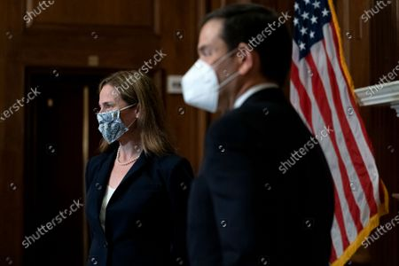 United States Supreme Court nominee Judge Amy Coney Barrett (L) meets with US Senator Marco Rubio (Republican of Florida) at the U.S. Capitol in Washington, DC. President Donald Trump nominated Barrett to replace Justice Ruth Bader Ginsburg after her death.