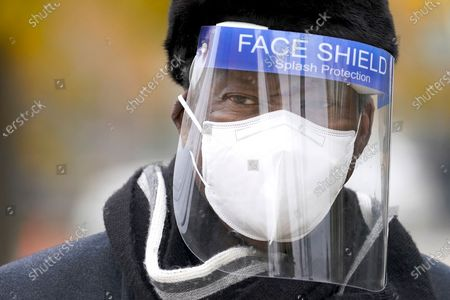 Stock Picture of Chicago businessman Willie Wilson wears a protective mask and face shield, as former Illinois Gov. Rod Blagojevich endorses Wilson for the U.S. Senate seat currently held by incumbent Dick Durbin, D-Illinois, during a news conference in Chicago