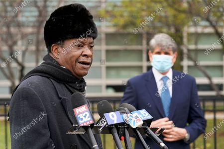 Stock Photo of Chicago businessman Willie Wilson, left, speaks, after former Illinois Gov. Rod Blagojevich, right, endorsed Wilson for the U.S. Senate seat currently held by incumbent Dick Durbin, D-Ill., during a news conference in Chicago