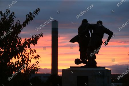 Stock Picture of General view outside the Bet365 Stadium of the Sir Stanley Matthews Statue during the EFL Sky Bet Championship match between Stoke City and Barnsley at the Bet365 Stadium, Stoke-on-Trent