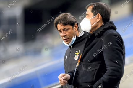 SL Benfica's director of football Rui Costa (L during a training session in Poznan, central Poland, 21 October 2020. SL Benfica faces Lech Poznan for an UEFA Europa League group D match on 22 October in Poznan.