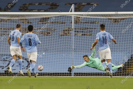 Claudio Bravo of Manchester City concedes a goal during the UEFA Champions League group C soccer match between Manchester City and FC Porto in Manchester, Britain, 21 October 2020.