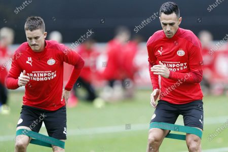 PSV players Ryan Thomas (L) and Eran Zahavi  during the team's training session in Eindhoven, the Netherlands, 21 October 2020. PSV Eindhoven play Granada in a UEFA Europa League match on 22 October 2020.