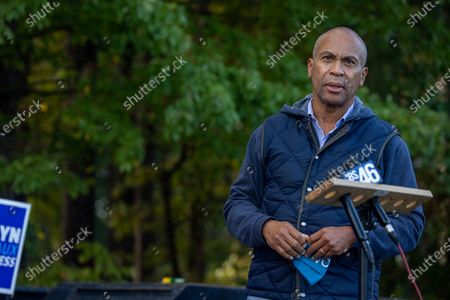 Stock Picture of Former Massachusetts Governor Deval Patrick talks to the press while at a get out the vote event for Democratic congressional candidate Bourdeaux (GA-07) at an early voting location in Lawrenceville, Georgia on October 21st.