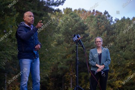Former Massachusetts Governor Deval Patrick talks to the press while at a get out the vote event for Democratic congressional candidate Carolyn Bourdeaux (GA-07) at an early voting location in Lawrenceville, Georgia on October 21st.