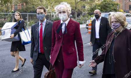 Stock Picture of E. Jean Carroll (C) arrives to Federal District Court to attend a hearing where her attorneys and attorneys for the US Justice Department are arguing about a motion to have the US substituted as the defendant in Carroll's defamation suit against US President Donald J. Trump in New York, New York, USA, 21 October 2020. Carroll, who has accused Trump of raping her in a dressing room in the 1990s, has sued Trump for a number of allegedly defamatory statements he made after the release of her book in 2019.