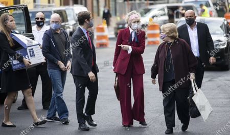 E. Jean Carroll (C) arrives to Federal District Court to attend a hearing where her attorneys and attorneys for the US Justice Department are arguing about a motion to have the US substituted as the defendant in Carroll's defamation suit against US President Donald J. Trump in New York, New York, USA, 21 October 2020. Carroll, who has accused Trump of raping her in a dressing room in the 1990s, has sued Trump for a number of allegedly defamatory statements he made after the release of her book in 2019.
