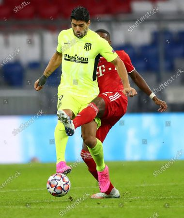 Atletico Madrid's Luis Suarez, left, and Bayern Munich's David Alaba battle for the ball during the Champions League Group A soccer match between Bayern Munich and Atletico Madrid at the Allianz Arena in Munich, Germany