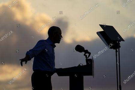 Stock Image of President Barack Obama speaks at Citizens Bank Park as he campaigns for Democratic presidential candidate former Vice President Joe Biden, in Philadelphia