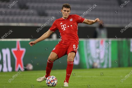 Stock Photo of Benjamin Pavard of Bayern Munich in action during the UEFA Champions League Group A stage match between FC Bayern Munich and Atletico Madrid at Allianz Arena in Munich, Germany, 21 October 2020.