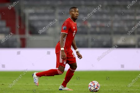 David Alaba of FC Bayern Munich in action during the UEFA Champions League Group A stage match between FC Bayern Munich and Atletico Madrid at Allianz Arena in Munich, Germany, 21 October 2020.