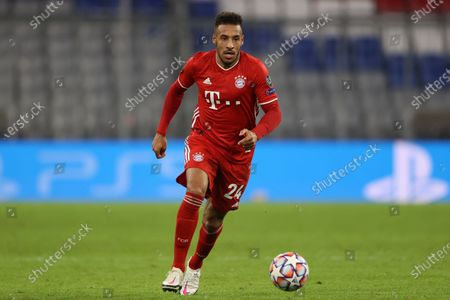 Corentin Tolisso of FC Bayern Munich in action during the UEFA Champions League Group A stage match between FC Bayern Munich and Atletico Madrid at Allianz Arena in Munich, Germany, 21 October 2020.