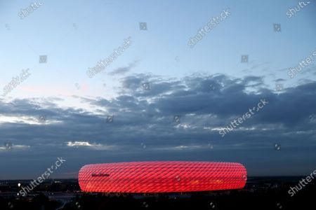 Exterior view of the Allianz Arena prior to the UEFA Champions League Group A stage match between FC Bayern Munich and Atletico Madrid at Allianz Arena in Munich, Germany, 21 October 2020.