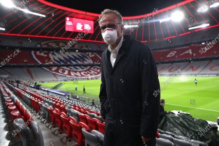 Stock Image of Karl-Heinz Rummenigge, CEO of FC Bayern Munich, looks on prior to the UEFA Champions League Group A stage match between FC Bayern and Atletico Madrid at Allianz Arena in Munich, Germany, 21 October 2020.