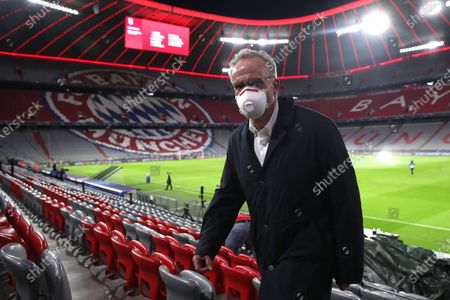Karl-Heinz Rummenigge, CEO of FC Bayern Munich, looks on prior to the UEFA Champions League Group A stage match between FC Bayern and Atletico Madrid at Allianz Arena in Munich, Germany, 21 October 2020.