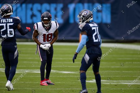 Houston Texans wide receiver Randall Cobb (18) lines up against Tennessee Titans cornerback Malcolm Butler (21) during the first half of an NFL football game, in Nashville, Tenn
