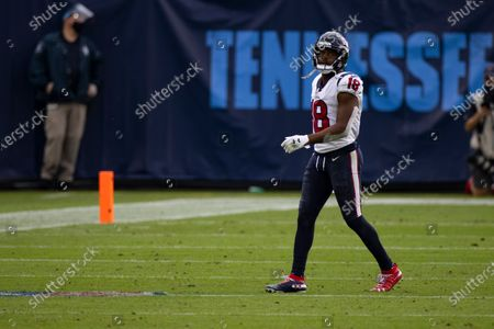 Houston Texans wide receiver Randall Cobb (18) walks on the field during the second half of an NFL football game against the Tennessee Titans, in Nashville, Tenn