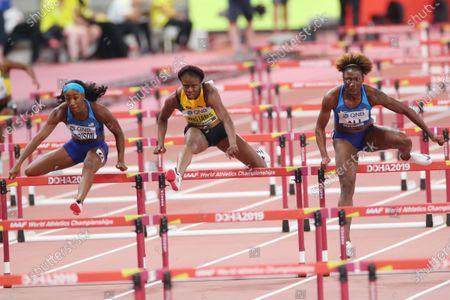 (L to R)  Kendra Harrison (USA),  Danielle Williams (JAM),  Nia Ali (USA) - Athletics :  IAAF World Championships Doha 2019  Women's 100m Hurdles Final  at Khalifa International Stadium in Doha, Qatar.