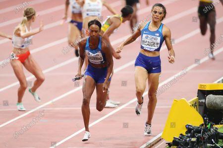 (L to R)  Dalilah Muhammad,  Sydney Mclaughlin (USA) - Athletics :  IAAF World Championships Doha 2019  Women's 4400m Relay Final  at Khalifa International Stadium in Doha, Qatar.