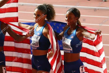 (L to R)  Sydney Mclaughlin,  Dalilah Muhammad (USA) - Athletics :  IAAF World Championships Doha 2019  Women's 4400m Relay Final  at Khalifa International Stadium in Doha, Qatar.