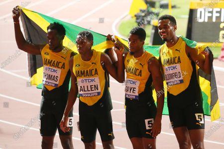 (L to R)  Terry Thomas,  Nathon Allen,  Demish Gaye,  Akeem Bloomfield (JAM) - Athletics :  IAAF World Championships Doha 2019  Men's 4400m Relay Final  at Khalifa International Stadium in Doha, Qatar.
