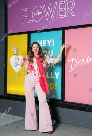 FLOWER Beauty launches at CVS stores for National Color Day (Oct. 22, 2020), on the Upper East Side of Manhattan.- Pictured: Drew Barrymore- Photo: Sara Jaye Weiss/Shutterstock