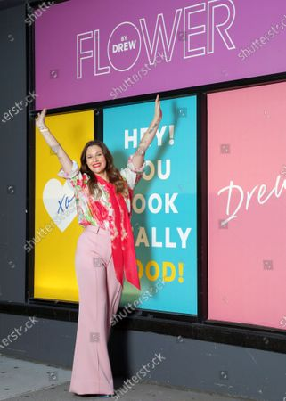Stock Photo of FLOWER Beauty launches at CVS stores for National Color Day (Oct. 22, 2020), on the Upper East Side of Manhattan.- Pictured: Drew Barrymore- Photo: Sara Jaye Weiss/Shutterstock