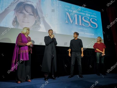 "Stock Photo of Amanda Lear, Alexandre Wetter, Ruben Alves and Sylvie Tellier attend ""Miss"" Premiere at the Club Etoile Cinema"