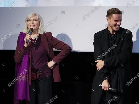 "Stock Image of Amanda Lear and Alexandre Wetter attend ""Miss"" Premiere at the Club Etoile Cinema"