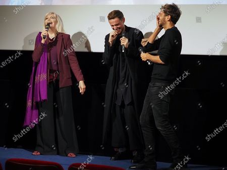 "Amanda Lear, Alexandre Wetter and Ruben Alves attend ""Miss"" Premiere at the Club Etoile Cinema"