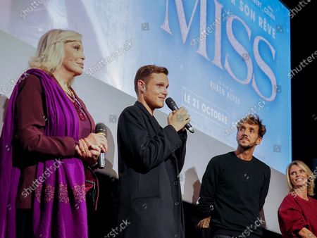 "Amanda Lear, Alexandre Wetter, Ruben Alves and Sylvie Tellier attend ""Miss"" Premiere at the Club Etoile Cinema"