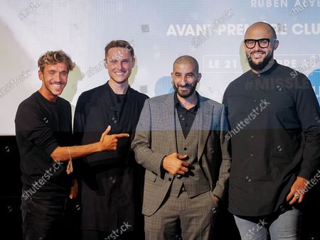 "Ruben Alves, Alexandre Wetter, Hedi Bouchenafa and a guest attend ""Miss"" Premiere at the Club Etoile Cinema"