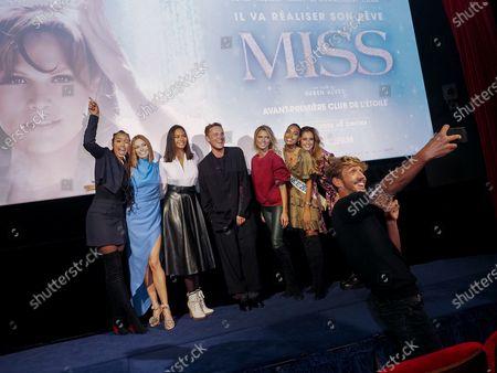 "Ruben Alves (in front) and Flora Coquerel, Maeva Coucke, Vaimalama Chaves, Alexandre Wetter, Sylvie Tellier, Clemence Botino, Malika Menard attend ""Miss"" Premiere at the Club Etoile Cinema"