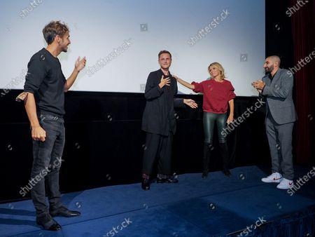 "Ruben Alves, Alexandre Wetter, Sylvie Tellier and Hedi Bouchenafa attend ""Miss"" Premiere at the Club Etoile Cinema"