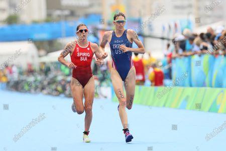(L to R)  Nicola Spirig Hug (SUI),  Gwen Jorgensen (USA) - Triathlon :  Women's Final  at Fort Copacabana  during the Rio 2016 Olympic Games in Rio de Janeiro, Brazil.
