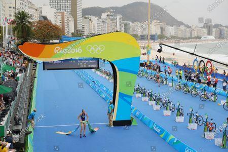 Stock Image of Gwen Jorgensen (USA) - Triathlon :  Women's Final  at Fort Copacabana  during the Rio 2016 Olympic Games in Rio de Janeiro, Brazil.