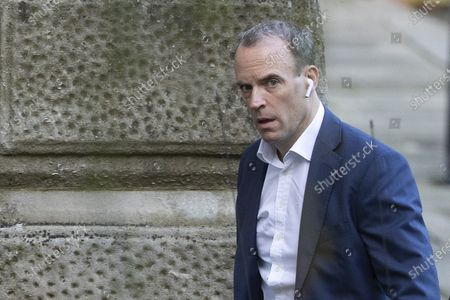 Foreign Secretary Dominic Raab arrives at the Foreign ,Commonwealth and Development office .