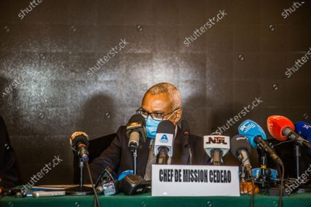 """Stock Image of Jose Maria Neves, head of the Economic Community of West African States (ECOWAS) observation mission and former Cape Verdean prime minister, speaks at a press conference in Conakry, the capital of Guinea, Oct. 20, 2020. African Union (AU) and the ECOWAS observation missions have congratulated Guinea on its """"peaceful, transparent and inclusive"""" presidential election."""