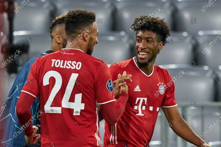 Corentin Tolisso #24 (FC Bayern Muenchen) and Kingsley Coman #29 (FC Bayern Muenchen)